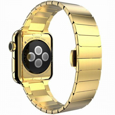 Curea iUni compatibila cu Apple Watch 1/2/3/4/5/6, 38mm, Link Bracelet, Otel Inoxidabil, Gold